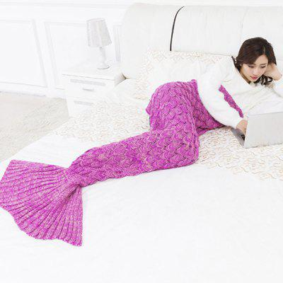 Mermaid Fish Scale Knitted Mermaid Tail Blanket for Children