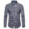 Men  's Leopard Shirt Moda Boate Digital Imprimir - BRANCO