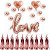 Rose Gold Heart Balloon Foil Champagne Balloon Set - ROSE