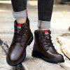 Velvet Warm Men Military Boots - DEEP BROWN