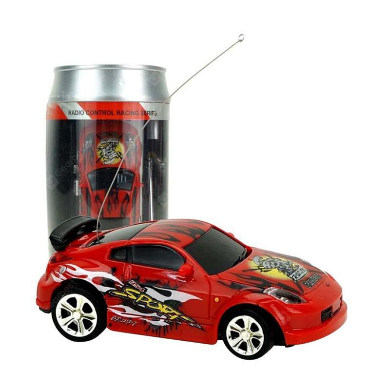2010b 1/58 Mini Ring-pull Can RC Car Toy Gift for Children - RED