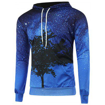 Fashion Blue Starry Tree Hooded Hoodie