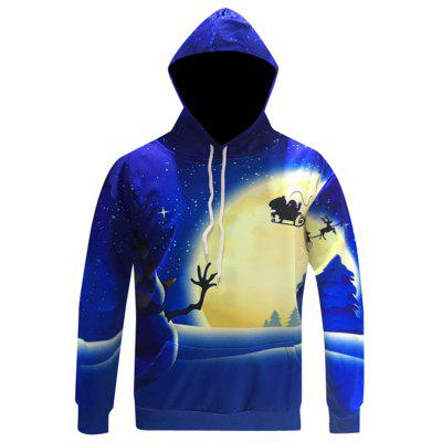 Blue Snowman Fashion Moonlight Hooded Hoodie