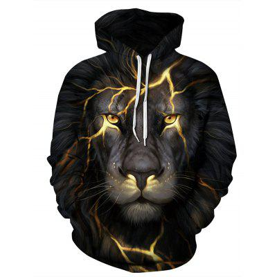 3D Stereo Digital Printing Lion Pattern Double Code  Loose Hooded Couple Hoodie