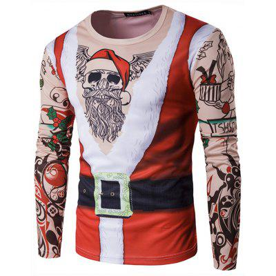 Men's Personality Round Neck 3D Long-sleeved T-shirt