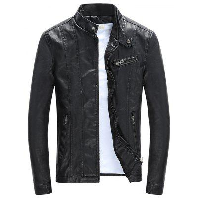 Men Large Size Leather Jacket Stand Collar Slim