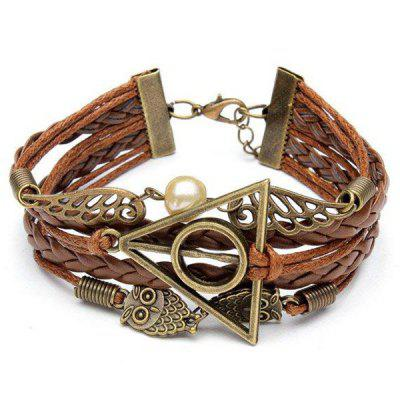 Antique Owl Wings Triangle Pearl Multilayer Woven Leather Bracelet