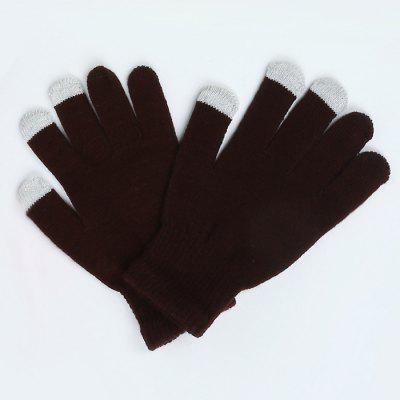 Warmth Thickening Solid Color Touch Screen Gloves