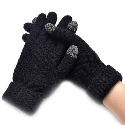 Winter Plus Velvet Thickened Anti-needle Jacquard Touch Screen Gloves