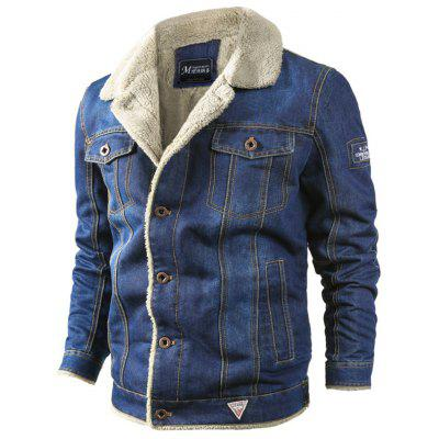Herren Jacke Lässig Winter Plus Samt Dicke Lose Revers Denim