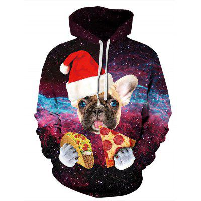 3D Digital Print Christmas Animal Pattern Double Code Loose Hooded Couple Hoodie