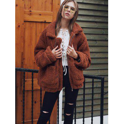 Autumn Winter Large Lapel Plush Padded Pocket Zipper Jacket