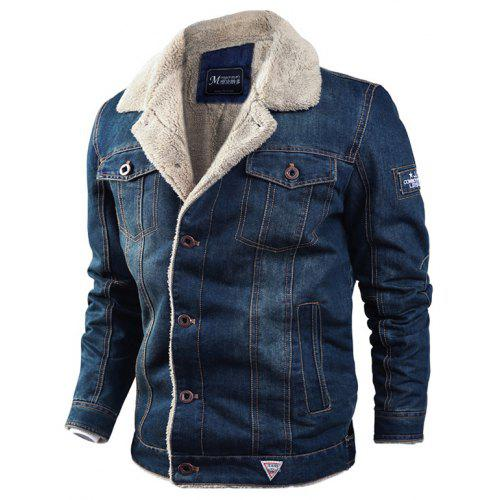 Men's Jacket Casual Winter Plus Velvet Thick Loose Lapel Denim