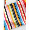 Fashion Color Stripes with Hair Band Detachable Tube Top High Cut Swimsuit - MULTI-A