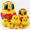 Russian Matryoshka 10 Layer ChickenToy Wood Crafts Hand Painted Gift - MUSTARD