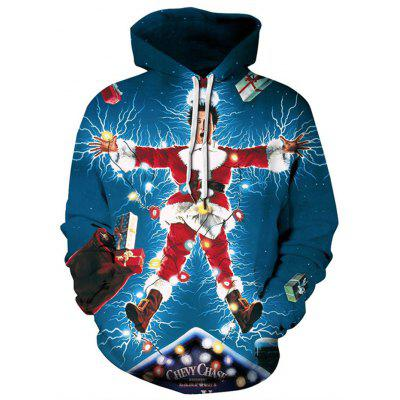 3D Stereo Digital Printing Christmas Pattern Loose Hoodie