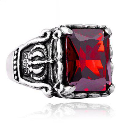 Men's Titanium Steel Inlaid Zircon Crown Ring
