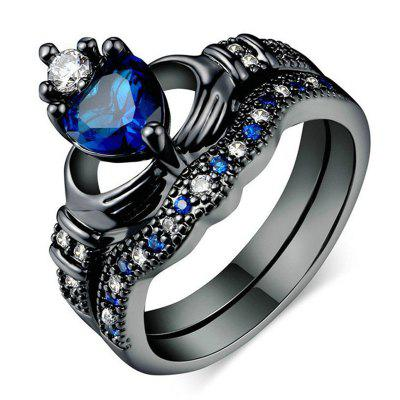 Double-layered Holding Sapphire Heart-shaped Crown Ring