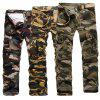 Men's Loose Large Size Camouflage Multi-pocket Washed Trousers Overalls - APRICOT