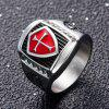 Stainless Steel Knight Red and Black AG Model Male Ring - SILVER