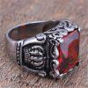 Men's Titanium Steel Inlaid Zircon Crown Ring - RED