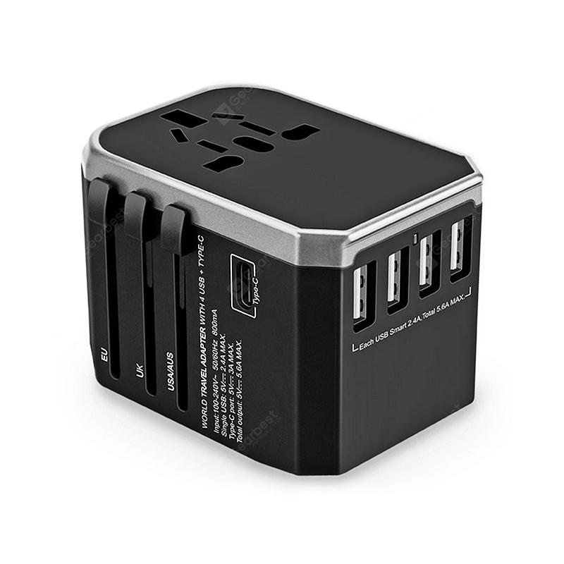 Gocomma Universal Global Travel Power Adapter - Gray