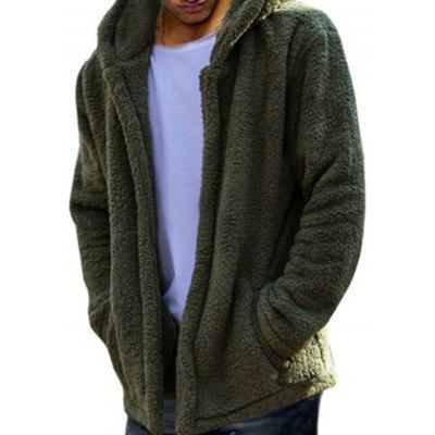 Fashion Casual Solid Color Men  's warme fleece met capuchon