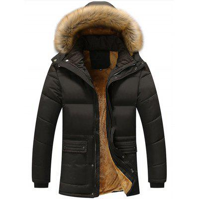 Autumn Winter Youth Casual Medium Long Men's Winter Brushed Cotton Jacket