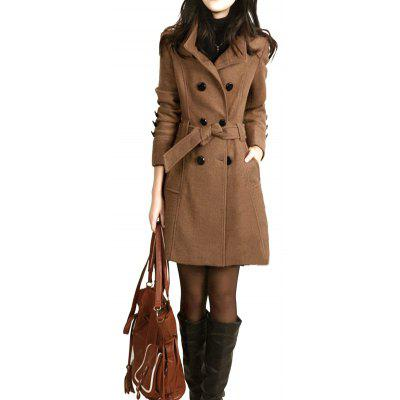Women Woolen Large Size Slim Long Coat