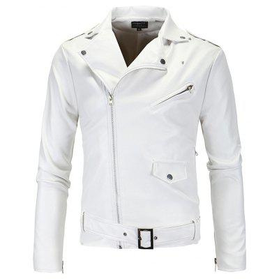 Collar Cut Diagonal Zipper Leather Leather Jacket