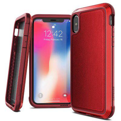 Metal Frame Hard Adhesive Leather Phone Case for iPhone XS