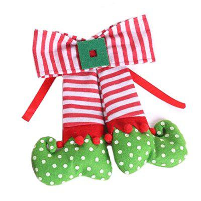 Christmas Tree Decoration Cloth Art Elf Bow Pendant