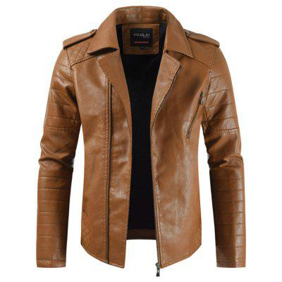Colarinho Plus Velvet Thick Diagonal Zipper Leather Jacket