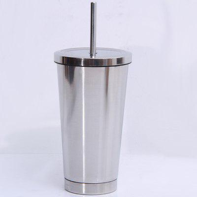 Stainless Steel Straight Thermos Cup Portable Straw Cup