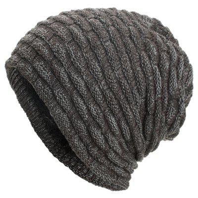 Plus Velvet Chaotic Small Horizontal Strip Head Sweater Cap