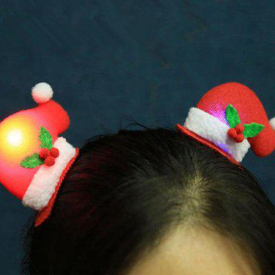 Decorative LED Lighted Christmas Hat BB Hair Clip 4pcs