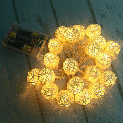 2.2m 20 Head Led Rattan Ball Battery Box Holiday Party Decoration Light String