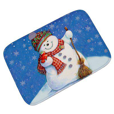 Cartoon Snowman Christmas Living Room Door Flannel Carpet
