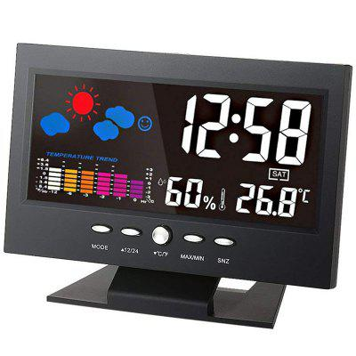 Indoor LCD Digital Temperature Hygrometer Weather Station Perpetual Calendar Clock