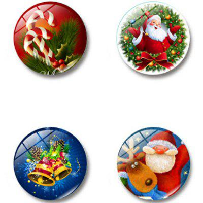 Simple Christmas Glass Magnetic Refrigerator Sticker 4pcs