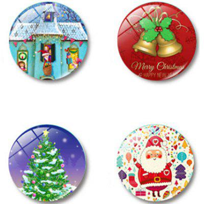 Christmas Glass Magnetic Refrigerator Stickers 4pcs