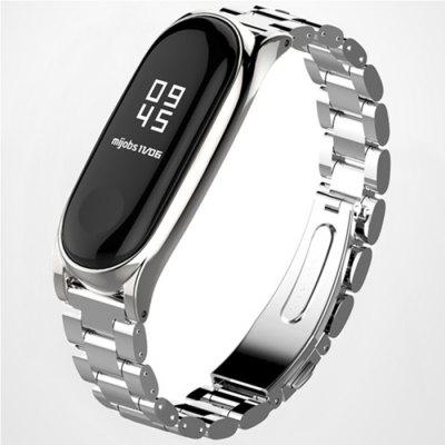 Three Beads Solid Replacement Steel Watch Strap for Xiaomi Mi Band 3