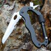 Outdoor Portable Survival Tool Multi-function Safety Carabiner Folding Knife Key Ring Screwdriver Bottle Opener - BLACK