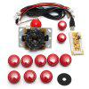Game DIY Arcade Set Kits Replacement Parts USB Encoder to PC Joystick and Buttons - RED