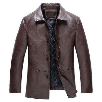 Collar Plus Cotton Quilted Thick Middle-aged Leather Jacket Male