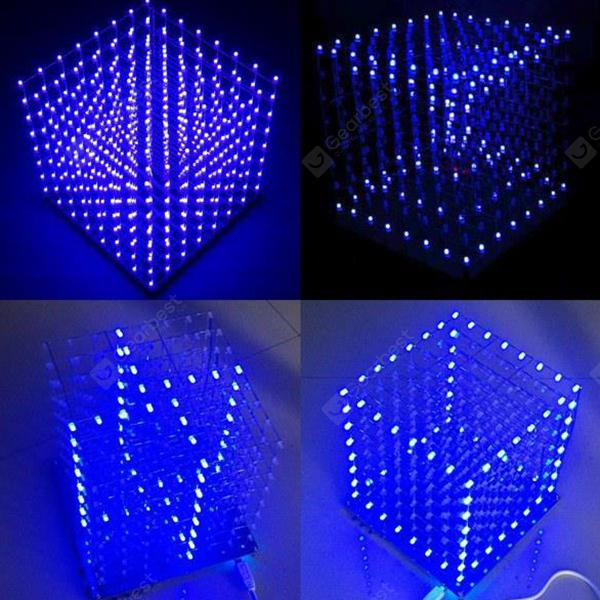 DIY Electronic LED Cube 3D Light Square BLUE