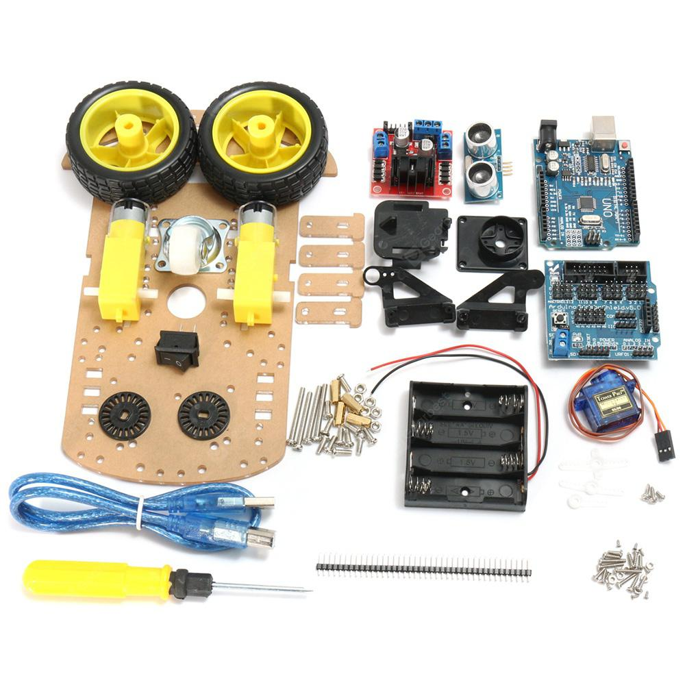 L298N DIY 2WD Ultrasonic Smart Tracking Motor Robot Car Kit for Arduino - MULTI