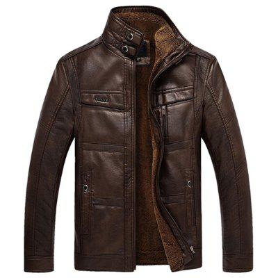 Male Middle-aged Fur Integration Leather Coat