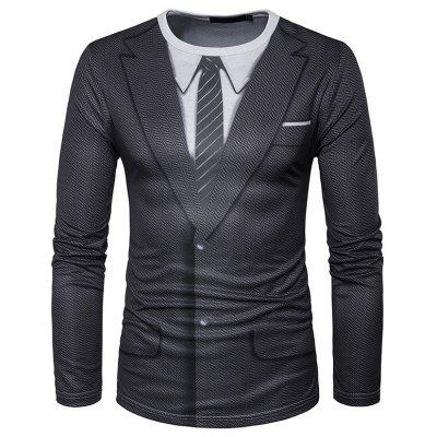 Men Round Collar Long Sleeve Business Suit T-shirt