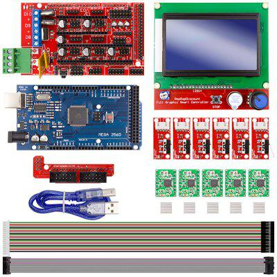 8 In 1 3D Printer Controller Set (CNC 3D Printer Kit for Arduino Mega 2560 R3 + RAMPS 1.4 Controller + LCD 12864 + 6 Limit Switch Endstop + 5 A4988 Stepper Driver)